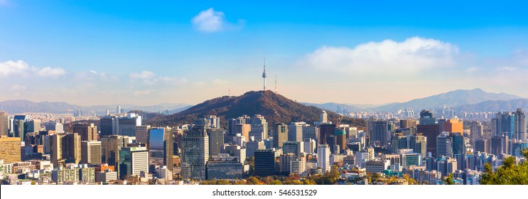 panorama view of  Seoul South Korea City Skyline with seoul tower.