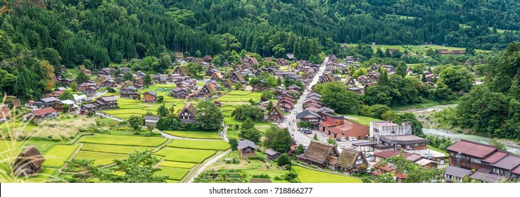 A panorama view of Shirakawago world heritage village in Japan of the summer time.