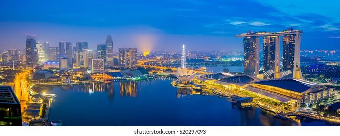 Panorama view of Singapore City, Singapore.