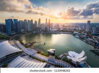 Panorama view of Singapore cityscape and skyscrapers at Marina Bay with sunset sky background, Singapore city, Singapore.
