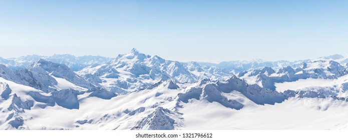 Panorama view from ski slope Elbrus, Russia