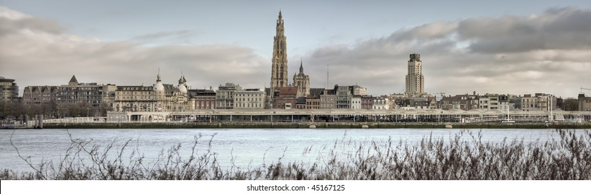 A panorama view of the skyline from the city of Antwerp