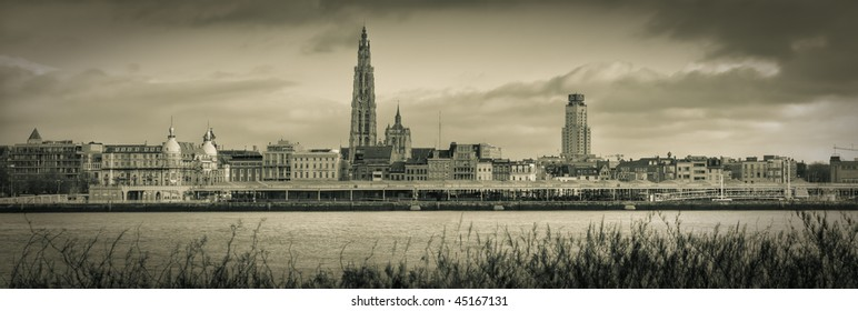 A panorama view of the skyline from the city of Antwerp, transferd to old looking sepia as in the analog days