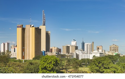 Panorama view of the skyscrapers of Nairobi, Kenya with Uhuru Park in the foreground.