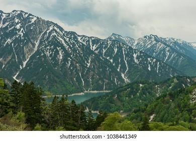 panorama view of snow mountain in Tateyama Kurobe Alpine Route, Japan