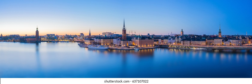 Panorama view of Stockholm skyline in Stockholm city, Sweden.