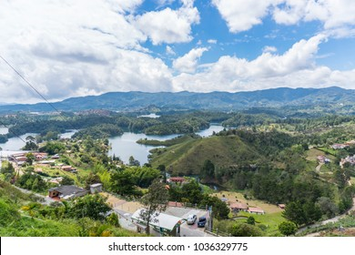 A panorama view of Guatapé from Peñol stone