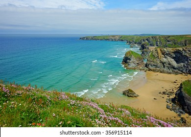 Panorama view of the stunning North Cornish coastline of Bedruthan Steps on a beautiful spring day, Cornwall, England, United Kingdom