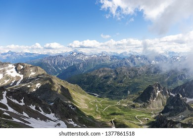Panorama view of the Swiss Alps with Great St. Bernar pass and aostatal Italy at the background