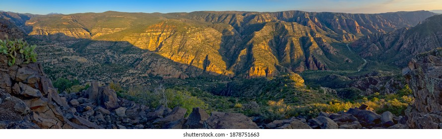 Panorama view of Sycamore Canyon from Sycamore Point lookout vista near sundown. Located in the Kaibab National Forest near Williams Arizona.