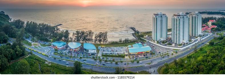 Panorama View of Tanjong Lobang Beach Miri, Sarawak.