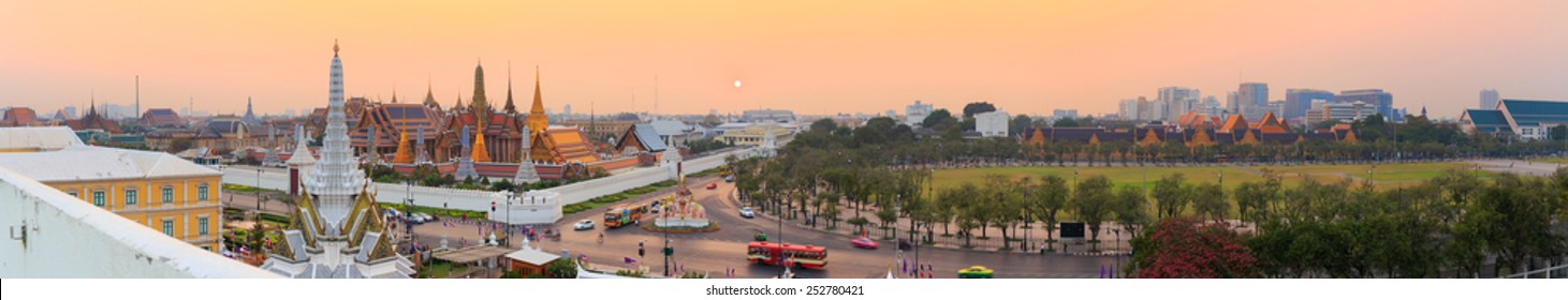 Panorama view of Temple of the Emerald Buddha, ( Wat Phra Kaew) and Sanam Luang in twilight time, Bangkok, Thailand