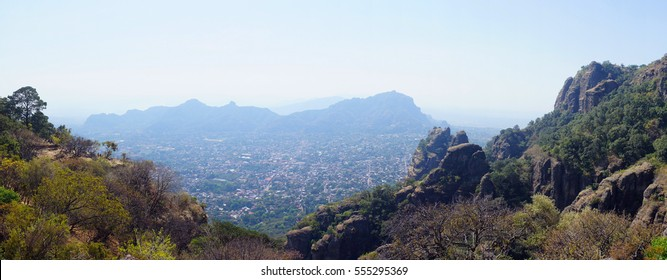 Panorama view of Tepoztlan, a small touristic village in the mexican state of Morelos.
