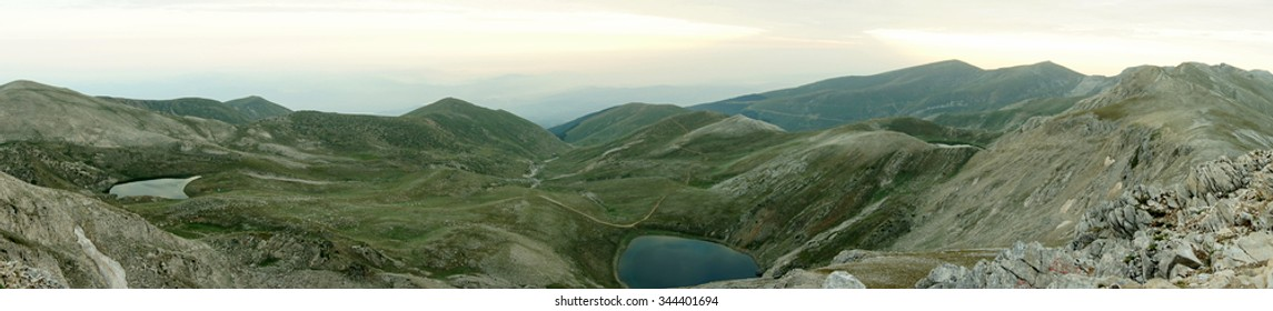 a panorama view of three lakes in the early morning, from the peak of uludag mountain, bursa/turkey