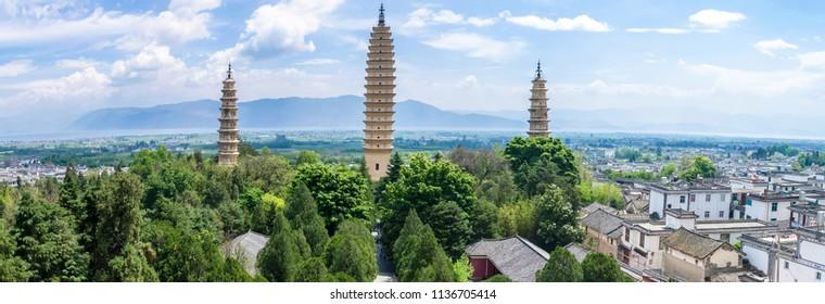 Panorama view of The Three Pagodas of Chongsheng Temple near Dali Old Town, Yunnan province, China.