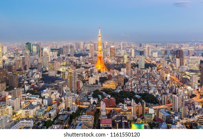 Panorama view of Tokyo Skyline at twilight Japan