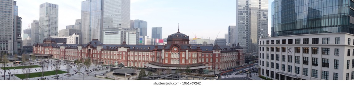 Panorama view of Tokyo station with office buildings in the background