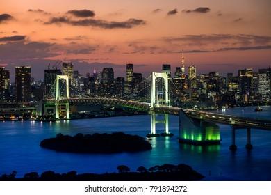 panorama  view of Tokyo Tower skyline and Rainbow Bridge with cityscape at Odaiba Japan