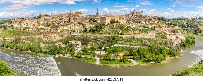 Panorama view at the Toledo city with Tajo river - Spain