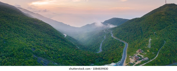 Panorama View from top,Hai Van Pass is one of the most beautiful mountain passes in Vietnam, which is the bridge connecting Danang and Lang Co Bay