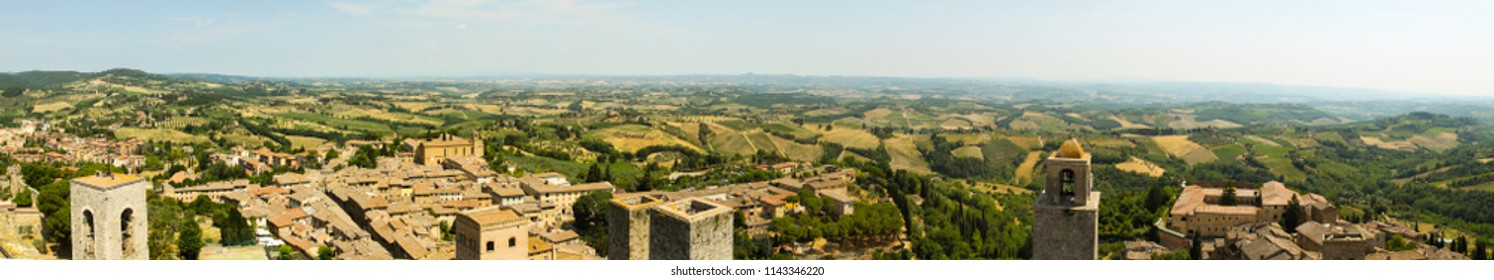 Panorama view of Toscana region in Italy, almost 360 degres of view