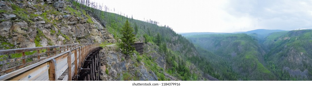 Panorama view of the train trestle on the Kettle Valley Railway near Kelowna, British Columbia, Canada