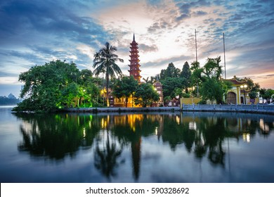 Panorama view of Tran Quoc pagoda, the oldest temple in Hanoi, Vietnam