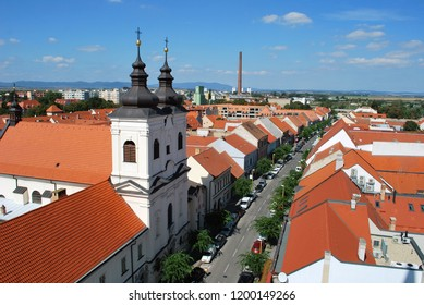 The panorama view of Trnava historical center, Slovakia