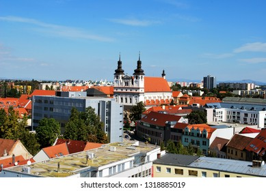 The panorama view of Trnava historical center with the St. John the Baptist Cathedral, Slovakia