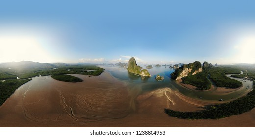 Panorama, view of tropical islands in Thailand, shooting from air