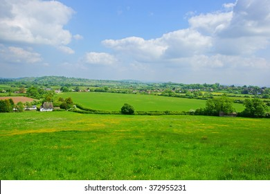A panorama view of the typical Gloucestershire countryside in summer looking from Hartpury towards the village of Hartpury, and Staunton and Corse, England, United Kingdom