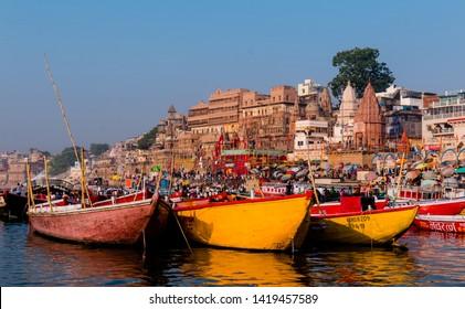 Panorama View of Varanasi the Historical and most oldest City in the World. : Varanasi, Uttar Pradesh/India - April 2019