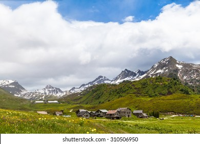 Panorama view of the village near the Lake of Cadagno and the alps in Canton of Ticino, Switzerland