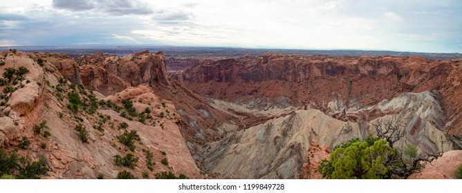 Panorama of the view to the west from Upheaval Dome, a geologic feature in Canyonlands National Park, Utah