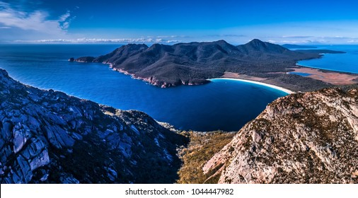 Panorama view of Wineglass Bay, in Freycinet National Park Tasmania