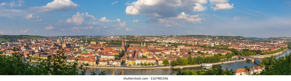Panorama view of Wuerzburg cityscape from the view platform of Marienberg Fortress on a sunny summer day, Wuerzburg, Bavaria, Germany