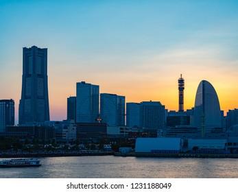 Panorama view of Yokohama Minatomirai Area in Yokohama City, Kanagawa Prefecture, Japan. Yokohama Minatomirai is an area facing Yokohama Port.