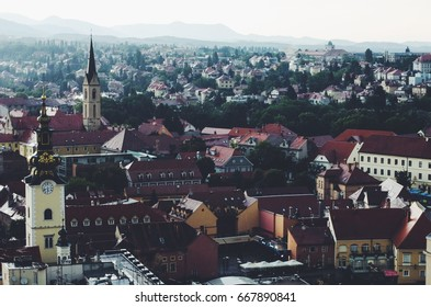 Panorama view at Zagreb downtown, Croatian capital
