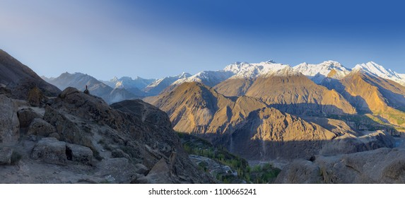 Panorama of viewpoint at Lady finger mountain view from eagle nest in Hunza valley, northern Pakistan.