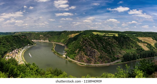 Panorama Viewpoint Loreley over the Rhine valley, Germany