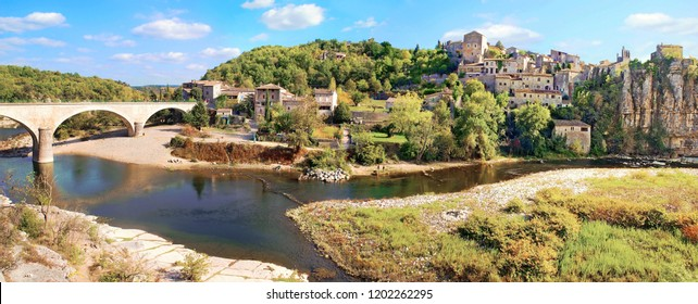 Panorama of the village of Balazuc in Ardèche.France.