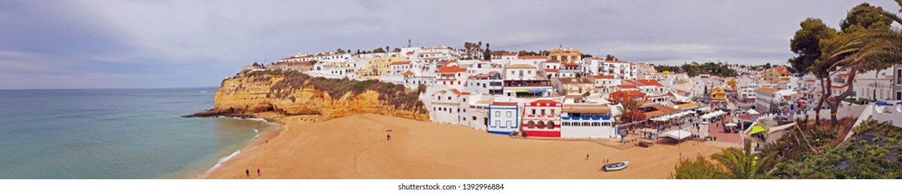 Panorama from the village Carvoeiro in the Algarve Portugal