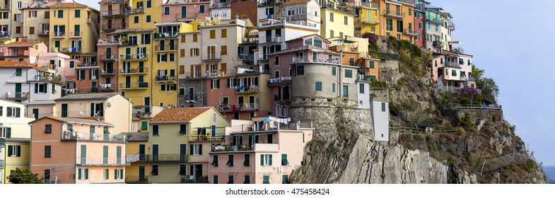 panorama of a village of colorful houses Italian, on a cliff
