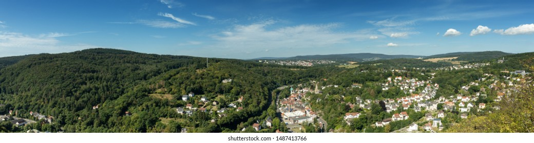 Panorama of the village of Eppstein, Taunus, Hesse, Germany