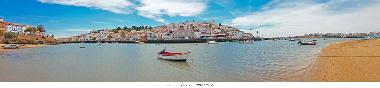 Panorama from the village Ferragudo in the Algarve Portugal