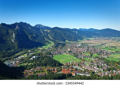 Panorama of the village of Oberammergau, Bavaria, seen from a mountain peak