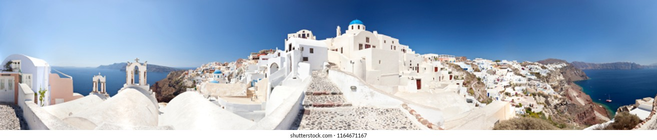 Panorama of the village Oia in Santorini, Greece. View to the village.