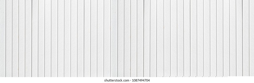 Panorama of vintage white wood planks background and pattern