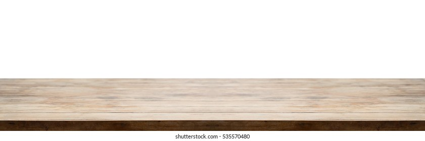Panorama of vintage wooden tabletop or wood texture for use as background and montage your product.