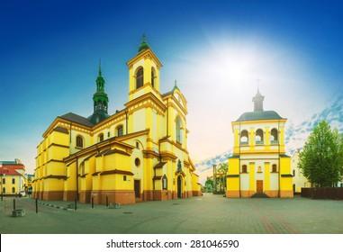 Panorama of Virgin Mary Church, Roman Catholic Cathedral. Ivano-Frankivsk. Ukraine.